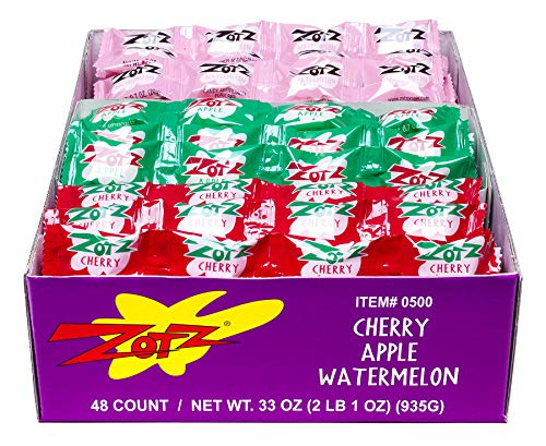 Zotz Fizz Power Candy, Cherry, Apple, and Watermelon Flavors (Pack of 48)