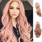 Karissa Hair Las mejores pelucas delanteras de encaje rosa clásicas para la moda de fiesta Lindo bebé rosa Cabello largo ondulado Pelucas sintéticas hermosas para mujeres Peluca rosa pastel de