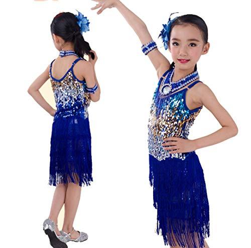 Kinder Dans Kostuum Meisjes Jurken Rokken Heet Boren Latijn Sequined Fringe Rok Rood Zwart Blauw Geel Roze Groen