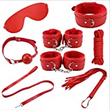 Lcy SM 7-Set of Fun-Filled Leather Clothes, Couple Flirting, Teasing Toys, Adult Products, Sunglasses (Color: Red) (Color : Red)