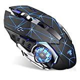 Uciefy T85 Rechargeable Wireless Mouse, 2.4G Ergonomic Silent Gaming Mice Portable Optical with USB Receiver, 3 Adjustable DPI, 6 Buttons LED Lights Compatible with Laptop/PC/Chromebook (Starry Black)