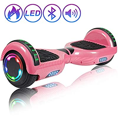 """Hoverboard Self Balancing Scooter 6.5"""" Two-Wheel Self Balancing Hoverboard with Bluetooth Speaker and LED Lights Electric Scooter for Adult Kids Gift UL 2272 Certified Fun Edition - Carbon Pink"""