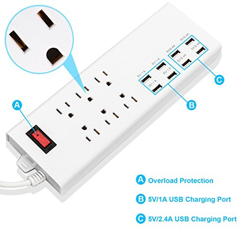 HONGYU 6 Outlet Home/Office Surge Protector/Power Strip with 8 USB Charging Ports(10A,5V/2.4A4 and 5V/1A4) 6 ft Cord Smart Power Adapter for iPhone, Tablets and Electronic Devices