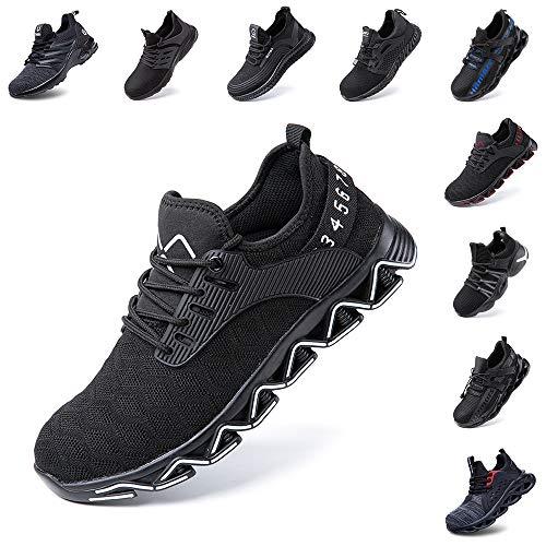 Hitmars Sicherheitsschuhe Herren Damen Arbeitsschuhe Leicht Sportlich Sneaker Stahlkappe Schuhe rutschfest Atmungsaktive Weiß 38 EU