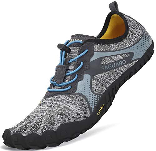 SAGUARO Barfussschuhe Herren mit Zehen Sohle Breathable Trail Laufschuhe Damen Weich Faltbar Fitnessschuhe Outdoor Sport Trekking Walking Schuhe Grau Gr.43