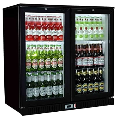Empire Commercial Hinged Double 2 Door Back Bar Bottle Display Cooler Fridge Chiller Beer Wine - Next Working Day Delivery Available