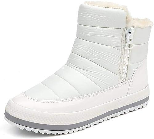 ZHRUI Bottines pour Femmes avec Noeud Noeud Noeud Bottes d'hiver Bottes d'hiver Chaudes Classic Snow (Couleuré   Blanc, Taille   38) 1d6