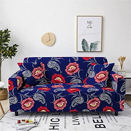 LKMVA Funda de sofá Estampado 3 Asientos 190 ~ 230 cm Cártamo Azul Spandex Antideslizante Cubre Sofa ExtraíBle Y Lavable Adecuada para Mascotas Protector Cubierta de Muebles