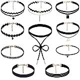 Rovtop 10 Stück Choker Halsketten Set Gummi Halsband Tattoo-Kette Schmuck-Sets Damen-Schmuck Velvet Halskette Tattoo Halsband Schwarz