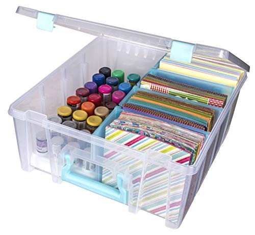 ArtBin Removable Dividers Art Craft Container Box Super Satchel Double Deep, Portable Art & Craft Organizer with Handle, [1] Plastic Storage Case, Clear with Aqua Accents, Clear & Aqua
