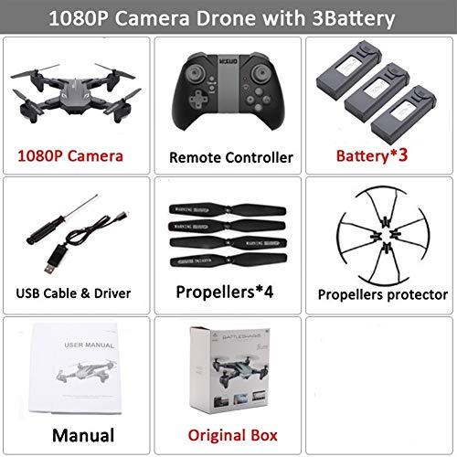 ZQALOVE Visuo XS816 RC Drone con 50 Volte Zoom WiFi Flusso FPV 4K Doppia Fotocamera Ottico Quadcopter Pieghevole Selfie Dron VS SG106 M70 ( Color : Set6 1080P 3BAT BX )