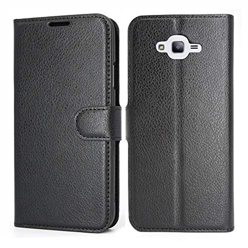 Galaxy J7 Neo/J700/Core/Nxt Case Wallet Black, D DESSVON Samsung Galaxy J7 2015 Leather Case, Ultra Slim PU Leather Flip Cover with Card Holder Kickstand Magnetic Closure Phone Protective Case for Men