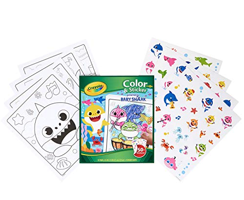 Crayola Baby Shark Coloring Pages and Stickers, Gift for Kids, Ages 3, 4, 5, 6