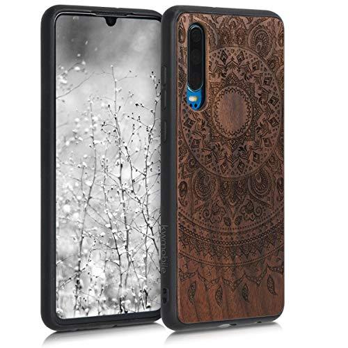 kwmobile Bumper Schutzhülle kompatibel mit Huawei P30 - Holz Hülle Handy Case Cover Walnussholz Indische Sonne Dunkelbraun