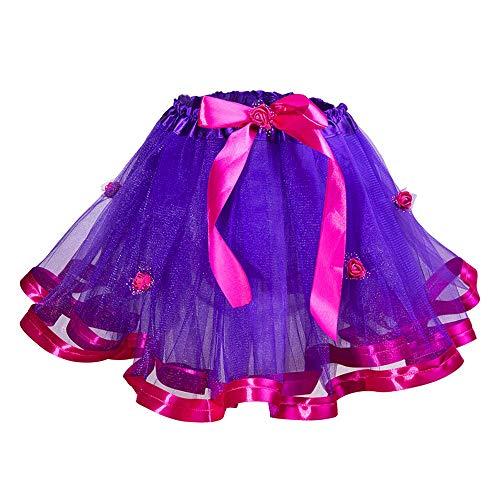 Wapakids Falda, tutus, Tull de ballet para niñas color purpura con fucsia