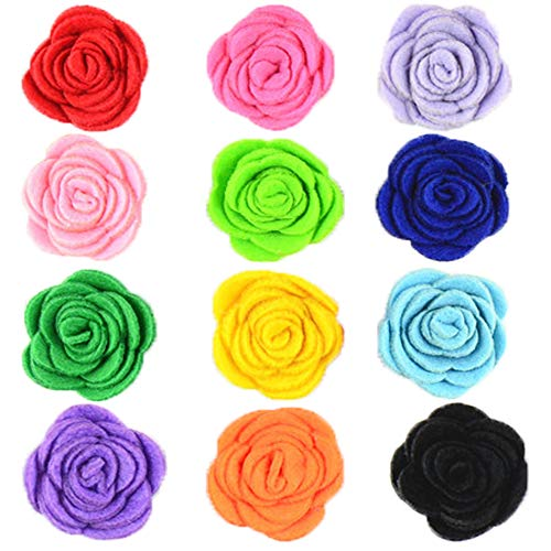 JpGdn 12pcs 1.6' Rose Small Dogs Collar Bows Flowers for Doggy Cats Wedding Birthday Party Collars Decor Sliding Accessories