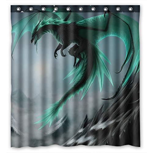 Duschvorhang mit Drachen-Motiv, wasserdicht, 167,6 x 182,9 cm