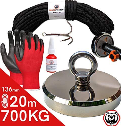 magnet-shop - Imán para pesca (700 kg, 136 mm, incluye tornillo de seguridad, cuerda de 20 m, gancho, guantes, imán con ojales, imán de pesca, imán de montaña)