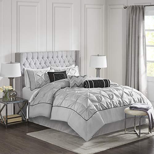 Madison Park MP10-1330 Laurel 7 Piece Comforter Set California King Grey