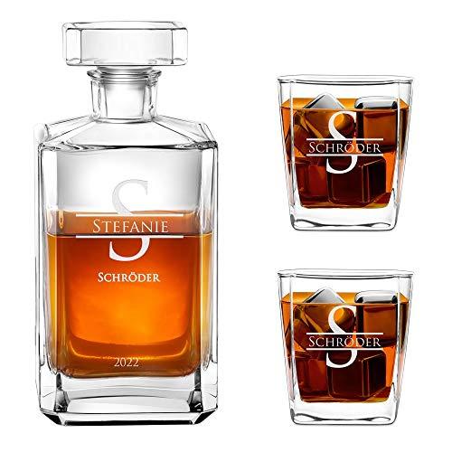 Murrano Whiskey Karaffe + 2er Whiskygläser Set mit Gravur - 700ml Whisky Dekanter - Geschenk zum Geburtstag für Damen - Monogramm