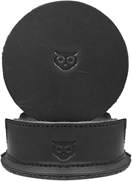 Durable Thick Leather Owl Coasters 6 Pack Handmade By Hide Drink Charcoal Black