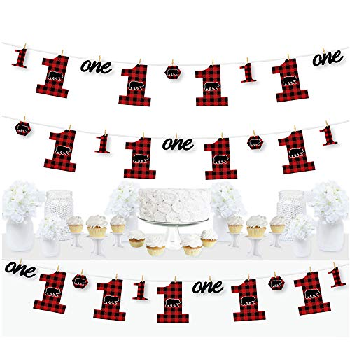Big Dot of Happiness 1st Birthday Lumberjack - Channel the Flannel - Buffalo Plaid First Birthday Party DIY Decorations - Clothespin Garland Banner - 44 Pieces