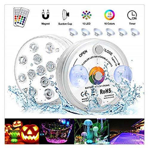 Unterwasser Led Licht, 2 Stück Poolbeleuchtung Wasserdichte 13 farbige, RGB, Timing-Einstellung Teichbeleuchtung mit Magneten und Saugnäpfen für Pool, Badezimmer, Brunnen, Aquarium, Weihnachten