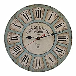 Old Oak 14-Inch Vintage Battery Operated Decorative Wall Clock Silent Non-Ticking Round for Kitchen Living Room Bathroom Bedroom Wall Home Decor with Roman Numerals