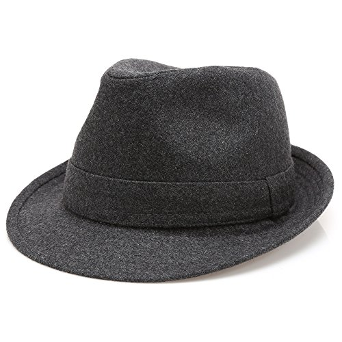 MIRMARU Men's Wool Blend Short Brim Trilby Fedora Hat with Band(Charcoal,SM)