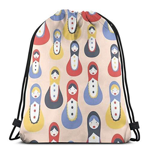 Nonebrand Matrioschka Puppe Muster Kordelzug Reiserucksack Sport Gym Tasche für Männer und Frauen Schultasche