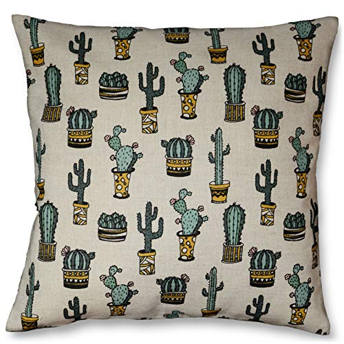 Cactus plant throw pillow zippered 16x16, Natural linen pillowcase, Mexican decor, Succulents cushion, With Insert