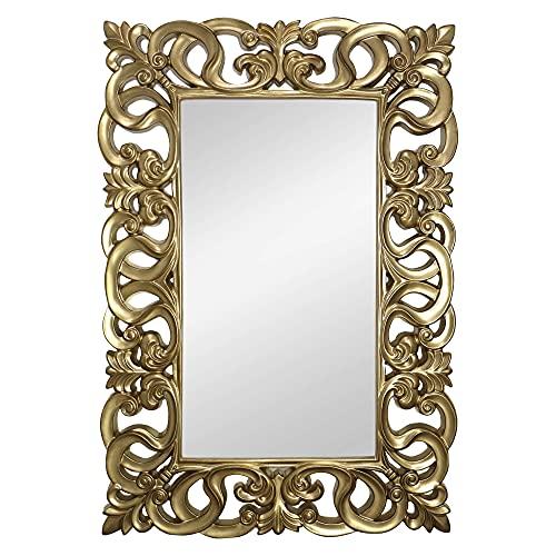 Espejo Decorativo de Pared, Barroco, Modelo Berrocal - Medida Exterior 88x128 cm, Medida de Espejo 48x88 cm (Oro)