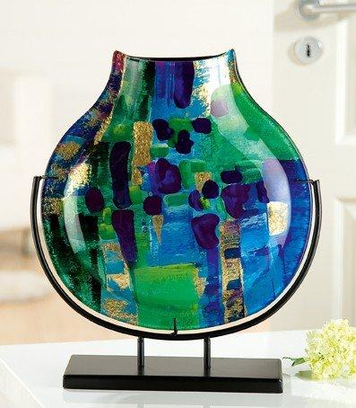GILDE decoratieve vaas 'Lago' op standaard, 40 cm, blauw / groen / turquoise / goud