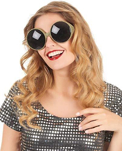 Frames - Gafas de sol redondas (75 mm), vintage, retro, Star, vedette, borde de patillas doradas, tintadas negras, para adulto, ref: ornegro