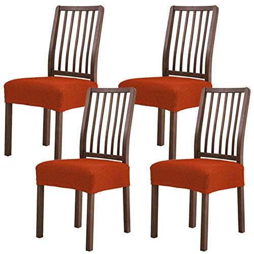 Stretch Esszimmerstuhl Sitzbezug,Stuhlhussen Spandex Abnehmbare Waschbar 4er Set Universal Sitzkissen Hussen für Stuhl Esszimmer-Orange-4 Stück