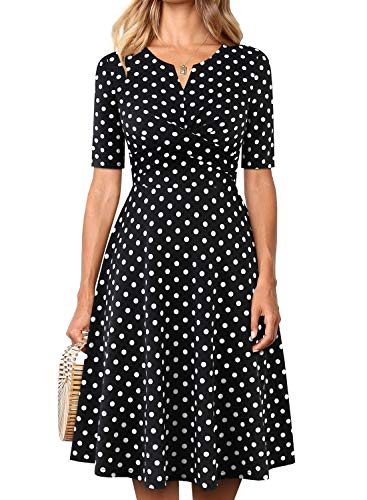 YATHON Women's Elegant Twist Front Fit and Flare Business Casual Party Work Dresses