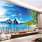 Living Equipment Mural Mural de pared 3D Papel tapiz fotográfico personalizado Balcón Paisaje de playa Sala de estar Paisaje 3D Papel de pared Revestimientos de pared Decoraciones para el hogar Mur