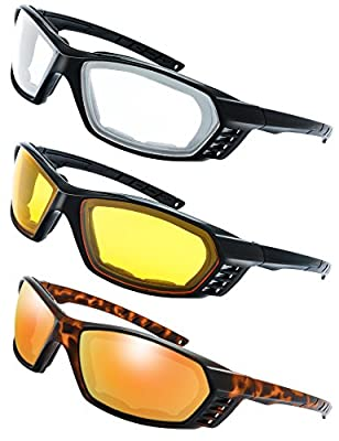 3 Pairs Motorcycle Riding Glasses Padded Frame Lens Block 100% UVB for Outdoor Activity Sport (7-Shiny Black/Tortoise, Clear, Yellow, Red Mirror) from