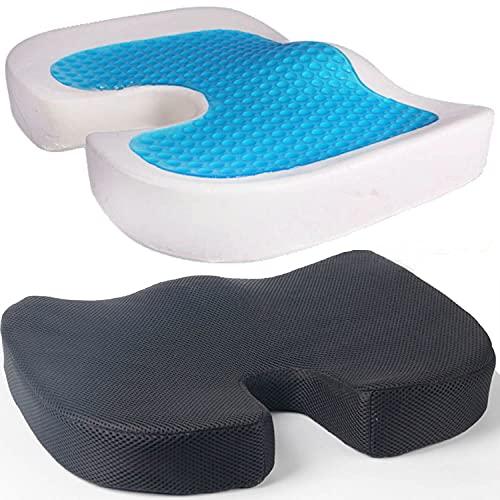 Gel Sitzkissen orthopädisch I Ergonomisches Sitzkissen für Bürostuhl etc Gelkissen kann Rückenschmerzen reduzieren, erhöht Sitzkomfort, fördert Durchblutung entlastet Steißbein Rücken