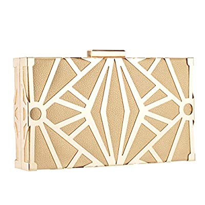 CLOCOLOR Exquisite Leather Evening Bags Metal Hollow Designer Clutch Bag Evening Handbags Water Cube Purse for Party