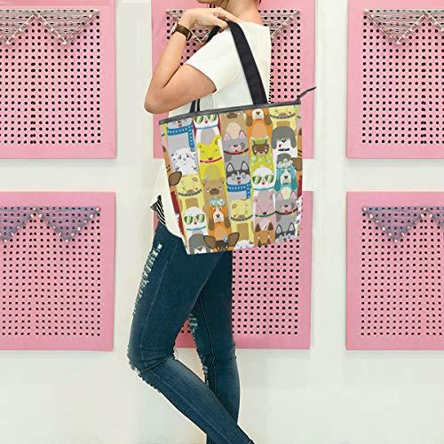 Gigijy Handtasche mit niedlichem buntem Hundemuster, groß für Damen, Schultertasche, Reißverschluss, Einkaufstasche für Frauen, mit Tragegriff oben