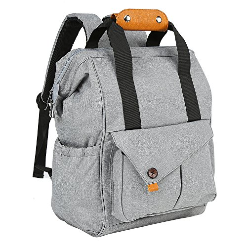 Diaper Bag Backpack, Multi-Function Waterproof Travel Maternity Nappy Tote Changing Bag For Mom & Dad, Insulated Pockets, Anti-theft Large Capacity, Wide Open Designed Stylish And Durable, Gray
