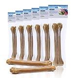 Nobleza - 6 Pezzi Osso Pressato per Cani Pelle Bovina Rinforzante per Denti Bastone Dentale Snack per Cani 20 cm