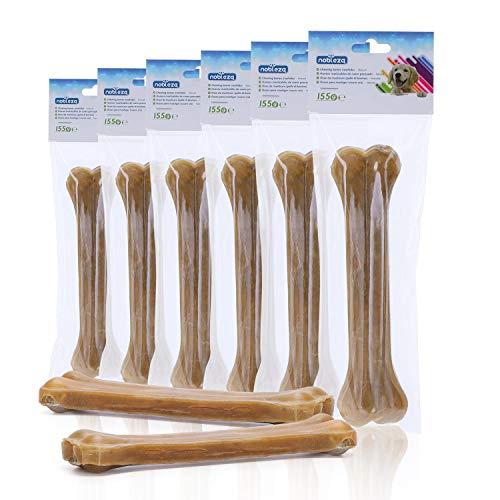 Nobleza - Hunde Kauknochen 20CM x 6 Stück, 100% natürliche rinderhautknochen und hundeknochen für für Hunde groß, Dog Bones proteinreiche
