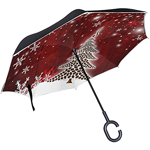 Merle House Christmas Tree Design of Coffee Beans Double Layer Inverted Umbrella with C-Shaped Handle, Snowflake Wooden Anti-UV Waterproof Windproof Straight Umbrella