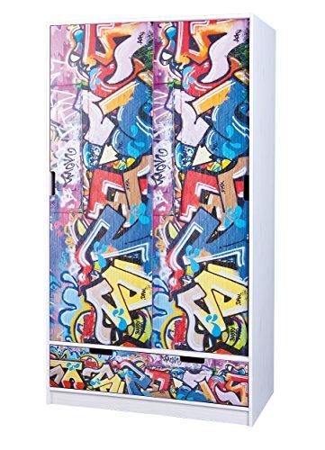 Esidra Las Cruces Armadio 2 Ante Scorrevoli e 2 Cassetti, Pino, Bianco, 97.2x53.1x180 cm