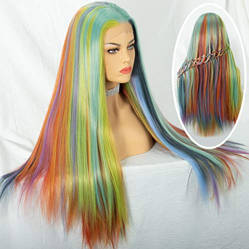 Cosswigs Mix Color Lace Front Wigs Fashion Rainbow Heat Resistant Synthetic Hair Lace Wig for Women Glueless Half Hand Tied 24inches