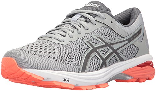 ASICS Women's GT-1000 6 Running Shoe, Mid Grey/Carbon/Flash Coral, 7 D US