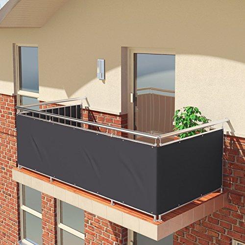 BALCONIO Balkon Sichtschutz wasserabweisend Balkonbespannung Balkonabdeckung für Balkon Terrasse aus Polyester-600 x 85 cm-Anthrazit
