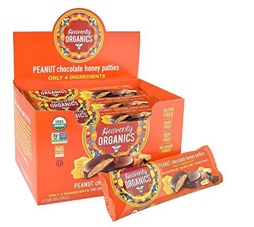 Heavenly Organics Peanut Chocolate Honey Patties (16 Per Box) Made with 100% Organic Cocoa and 100% Organic Raw White Honey; Non-GMO, Fair Trade, Kosher, Dairy & Gluten Free, No Sugar Added